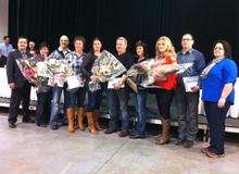 Neuf employés de la Coop ont été reconnus pendant l'AGA. Absent dans la photo: Jean-Marie Albert
