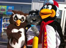 Les mascottes Plume, Acajoux et Zwick